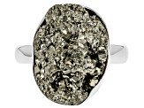 Drusy Pyrite Rough Sterling Silver Ring