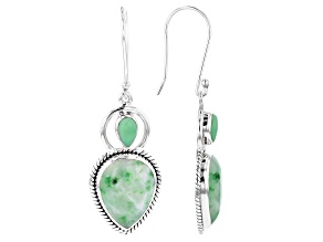 Green Garnet in Matrix Sterling Silver Earrings