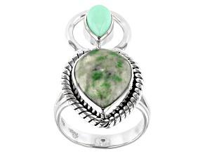 Green Garnet in Matrix Sterling Silver Ring