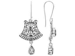 Crystal Quartz Sterling Silver Bell Dangle Earrings 2.72ctw
