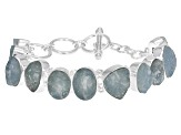Aquamarine Rough Sterling Silver Bracelet