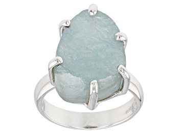 Picture of Blue Aquamarine Rough Sterling Silver Ring