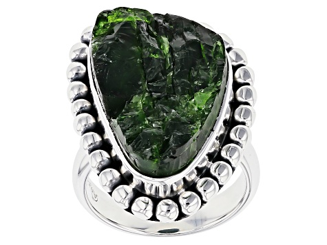 Green Chrome Diopside Silver Ring