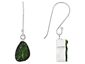 Green Chrome Diopside Silver Dangle Earrings