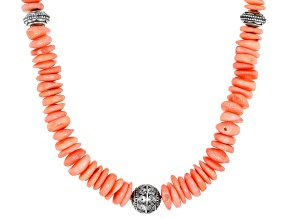 Peach Coral Bead Sterling Silver Necklace