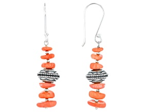 Peach Coral Bead Sterling Silver Earrings