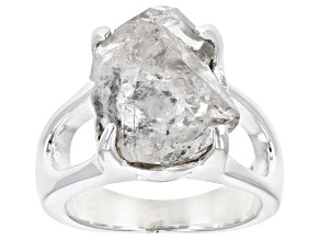 White Quartz Silver Solitaire Ring