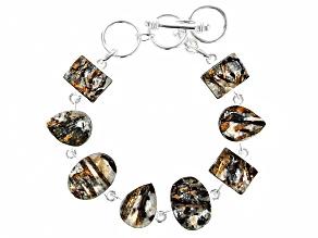 Multicolor Astrophyllite Silver Bracelet