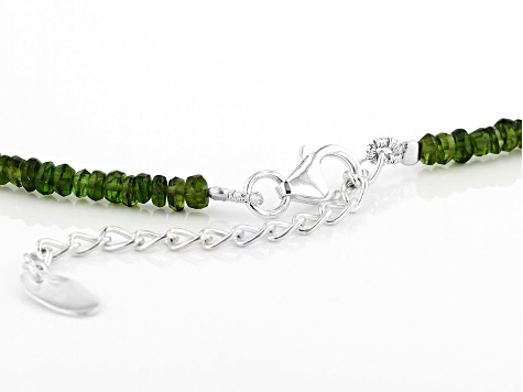Green Chrome Diopside Silver Necklace