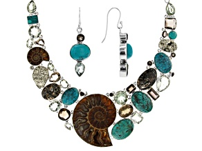 Ammonite Shell & Mixed Stones Silver Necklace And Earrings Set
