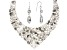 Mixed Shape Quartz And Crystal Silver Necklace and Earrings Set