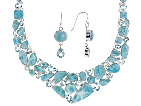 Larimar and Blue Topaz Sterling Silver Necklace And Earrings Set
