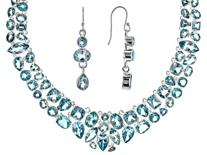 Blue Topaz Silver Necklace and Earrings Set.