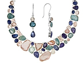 Multi Stone Sterling Silver Necklace and Earrings Set