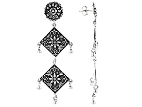 Floral Design Sterling Silver Earrings