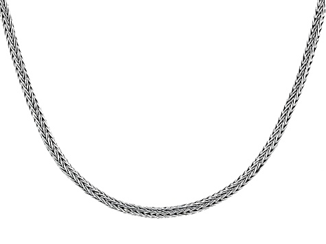 Sterling Silver Round Foxtail Chain Necklace