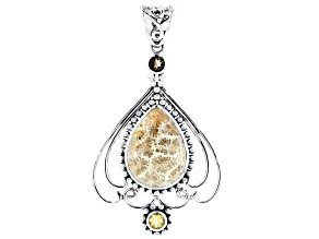 Fossilized Coral Silver Pendant 0.90ctw