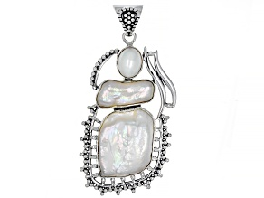 White Cultured Freshwater Pearl Silver Pendant