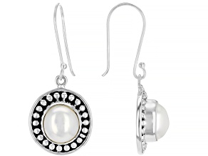 White Cultured Freshwater Pearl Silver Dangle Earrings