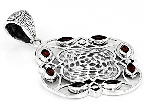 Red Garnet Sterling Silver Pendant 2.32ctw
