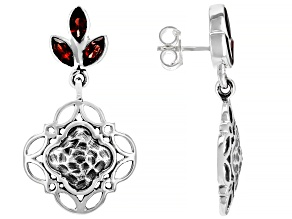 Red Garnet Sterling Silver Earrings 1.74ctw