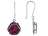 Rough Pink Sapphireh Sterling Silver Dangle Earrings