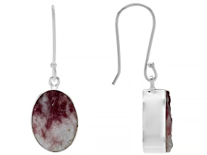 Pink tourmaline in quartz Rough Silver Earrings