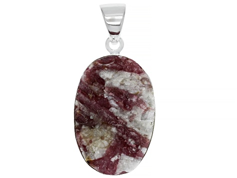 Pink tourmaline in quartz Rough Sterling Silver Pendant