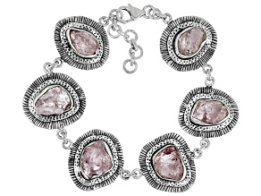 Pink Morganite Rough Sterling Silver Bracelet