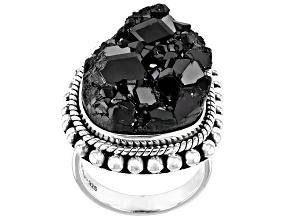 Black Garnet Rough Sterling Silver Ring