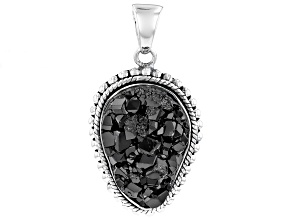 Black Garnet Rough Sterling Silver Pendant