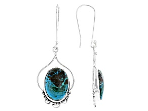 Malachite and Chrysocolla Sterling Silver Earrings