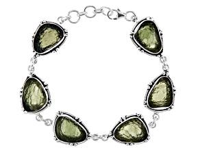 Moldavite Sterling Silver Station Bracelet