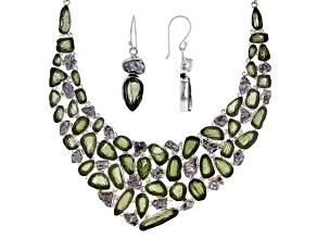 Moldavite Sterling Silver Jewelry Set