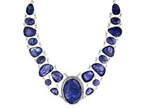Rough Tanzanite Sterling Silver  Necklace