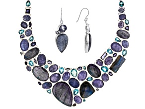 Multi Stone Sterling Silver Necklace and Earrings Set 36.72ctw