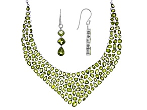 Perdiot Sterling Silver Jewelry Set 149.45ctw
