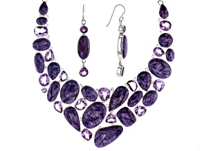 Amethyst & Charoite Sterling Silver Necklace and Earrings Set 292.30ctw