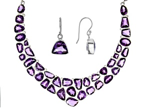 Amethyst Sterling Silver Necklace 155.95ctw