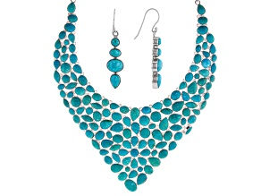Turquoise Sterling Silver Necklace and Earrings Set