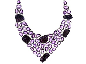 Amethyst Sterling Silver Necklace 245.50ctw