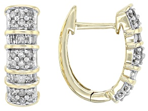 White Diamond Earrings 10k Yellow Gold .50ctw