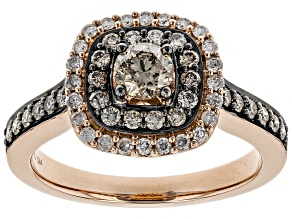 Champagne And White Diamond 14k Rose Gold Halo Ring .90ctw