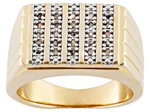 Diamond 18k Gold Over Silver Gents Ring .25ctw