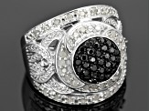 Black And White Diamond Sterling Silver Ring 1.00ctw