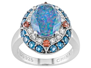 Multi-color Australian Opal Triplet Rhodium Over Silver Ring .88ctw