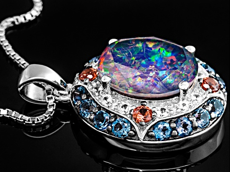 Multi Color Australian Opal Triplet Silver Pendant With Chain .88ctw.