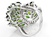 Green Chrome Diopside Sterling Silver Cocktail Ring 8.22ctw