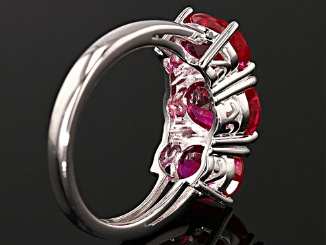 Red Lab Created Ruby Rhodium Over Sterling Silver Ring 5.04ctw
