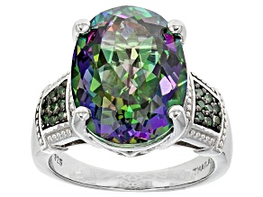 Mystic® Green Topaz Sterling Silver Ring 10.13ctw